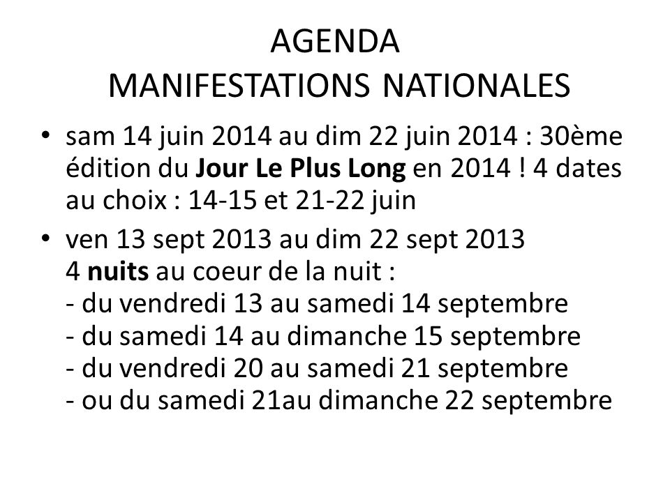 AGENDA MANIFESTATIONS NATIONALES