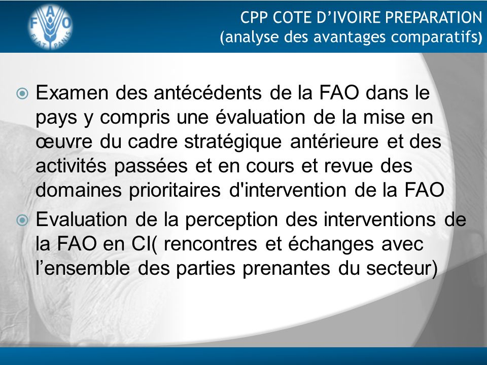 CPP COTE D'IVOIRE PREPARATION