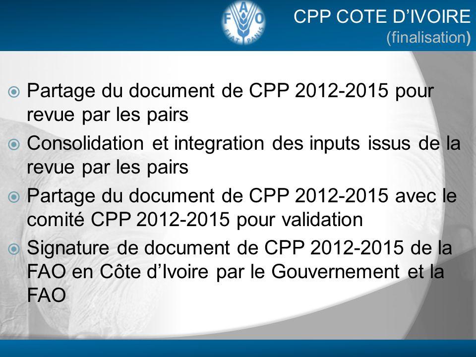 Partage du document de CPP 2012-2015 pour revue par les pairs