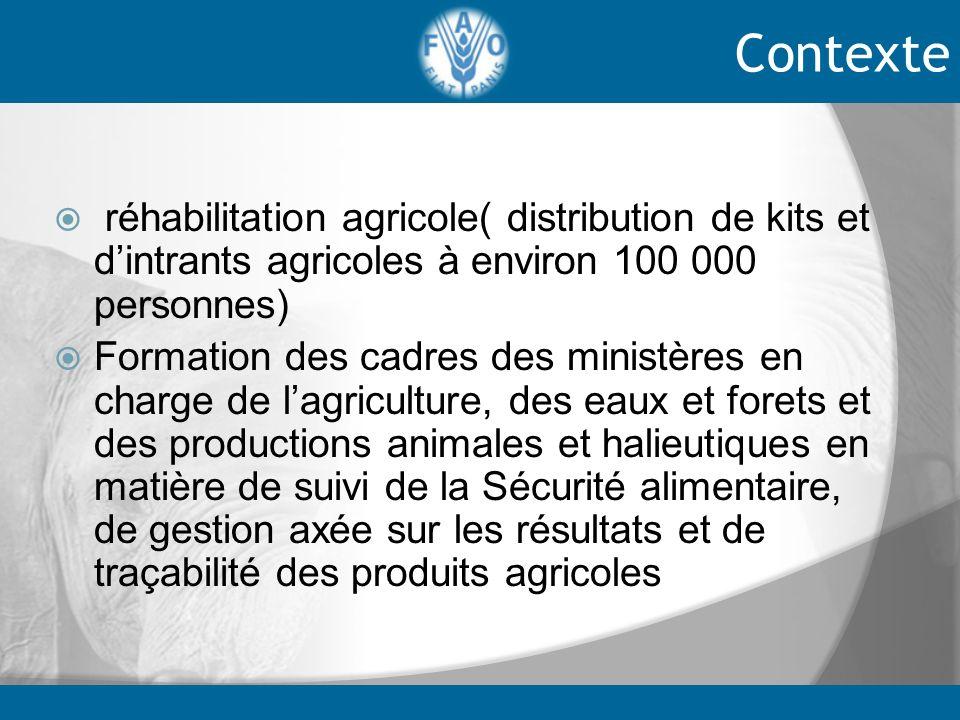 Contexte réhabilitation agricole( distribution de kits et d'intrants agricoles à environ 100 000 personnes)