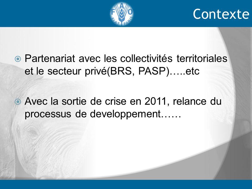 Contexte Partenariat avec les collectivités territoriales et le secteur privé(BRS, PASP)…..etc.