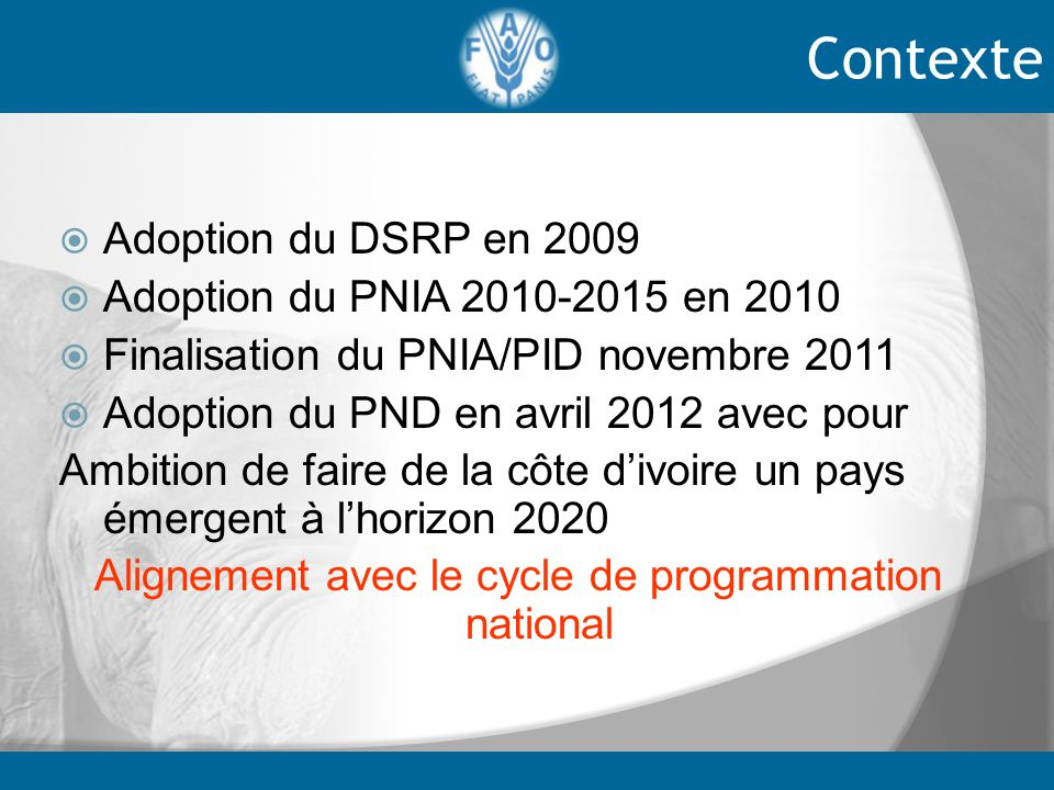 Alignement avec le cycle de programmation national