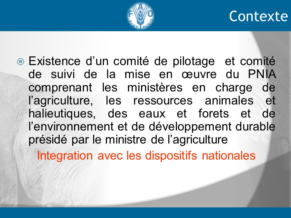 Integration avec les dispositifs nationales
