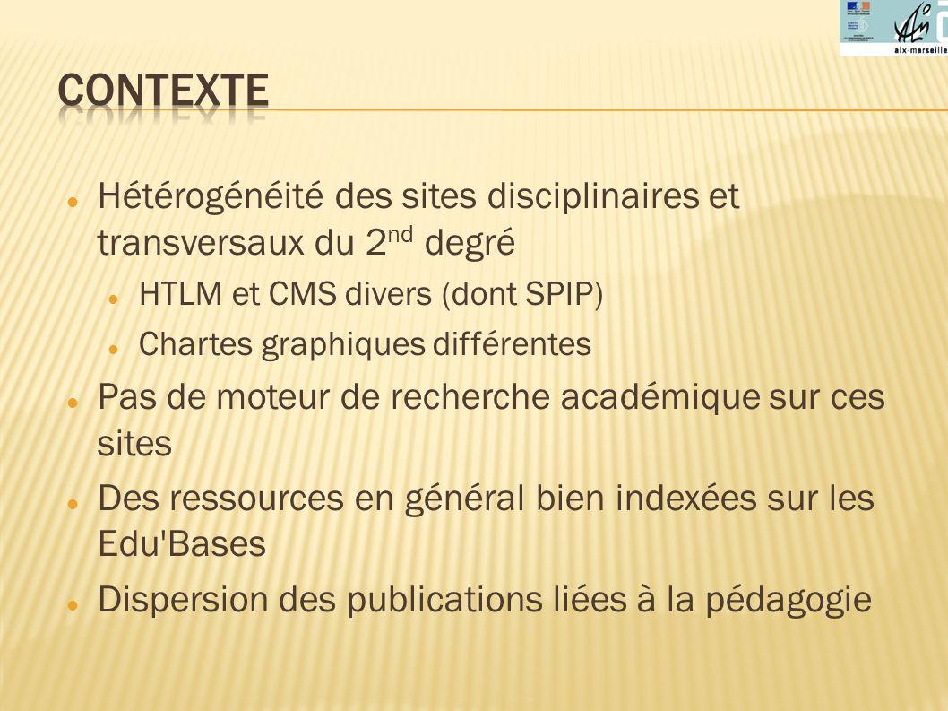 Contexte Hétérogénéité des sites disciplinaires et transversaux du 2nd degré. HTLM et CMS divers (dont SPIP)