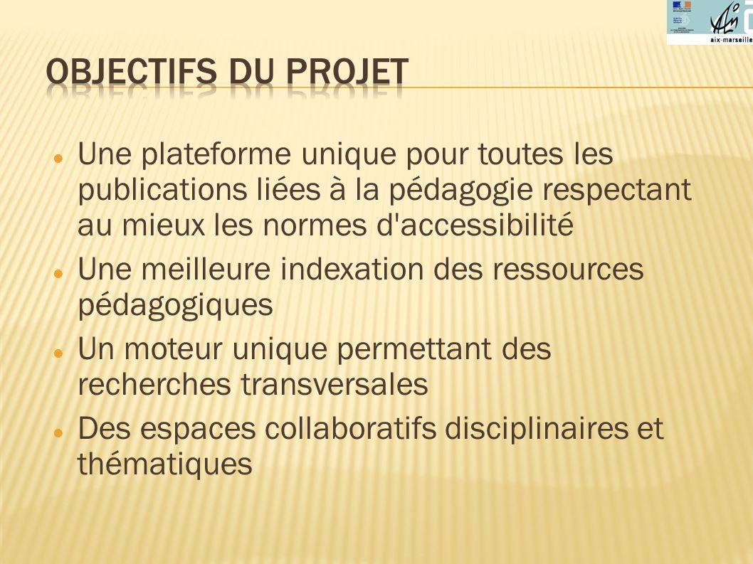 Objectifs du projet Une plateforme unique pour toutes les publications liées à la pédagogie respectant au mieux les normes d accessibilité.