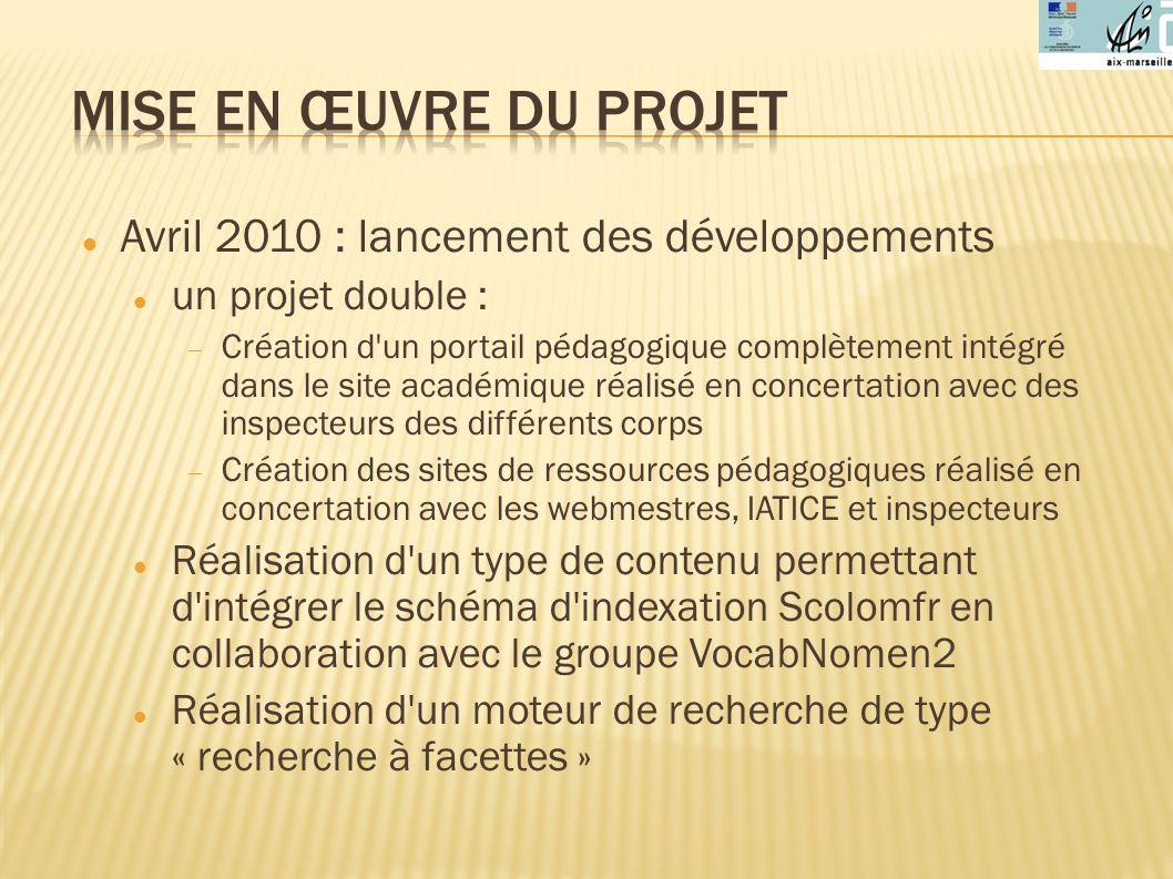 Mise en œuvre du projet Avril 2010 : lancement des développements