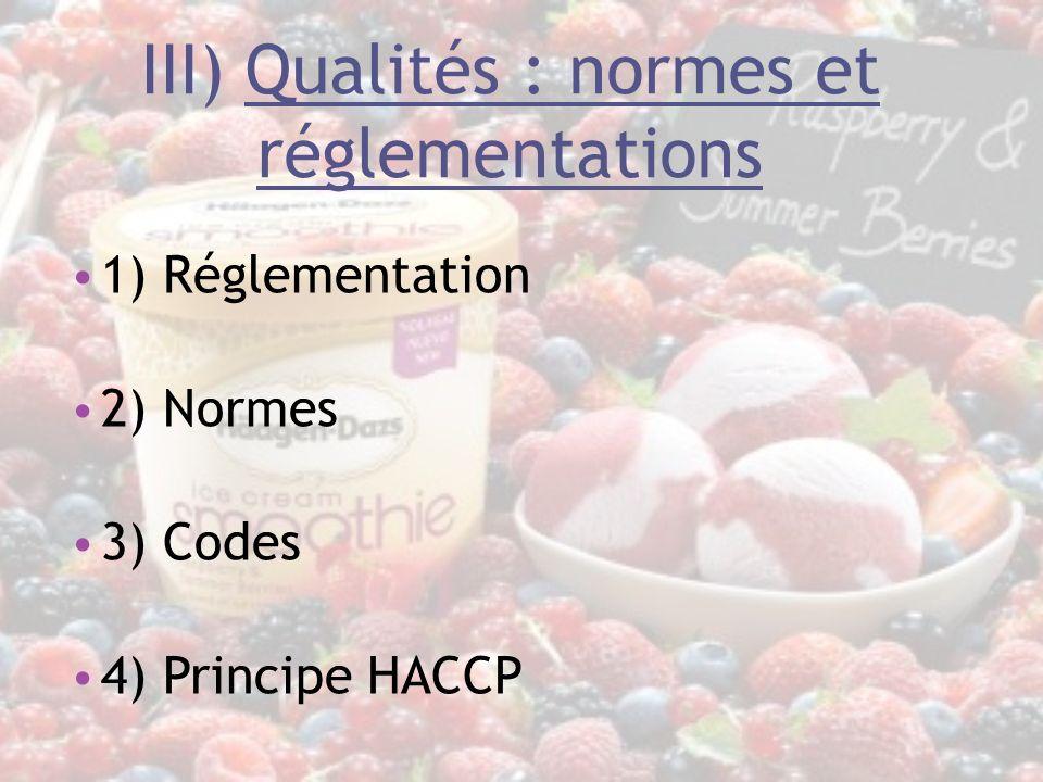 III) Qualités : normes et réglementations