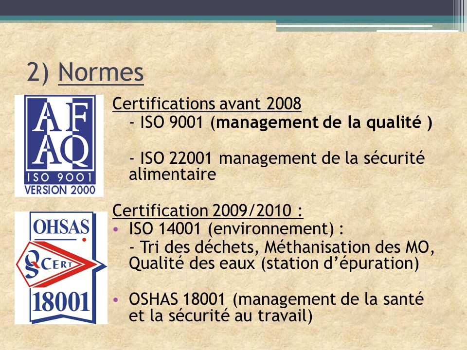 2) Normes Certifications avant 2008