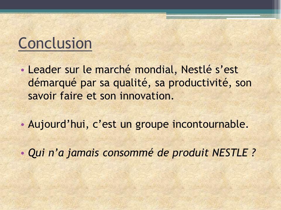 Conclusion Leader sur le marché mondial, Nestlé s'est démarqué par sa qualité, sa productivité, son savoir faire et son innovation.