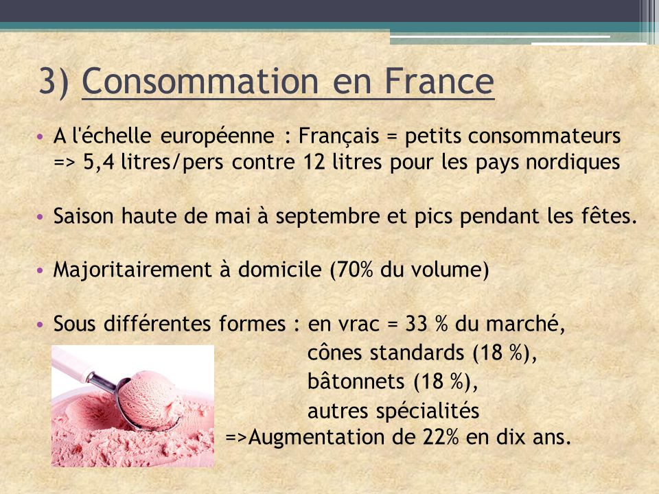 3) Consommation en France