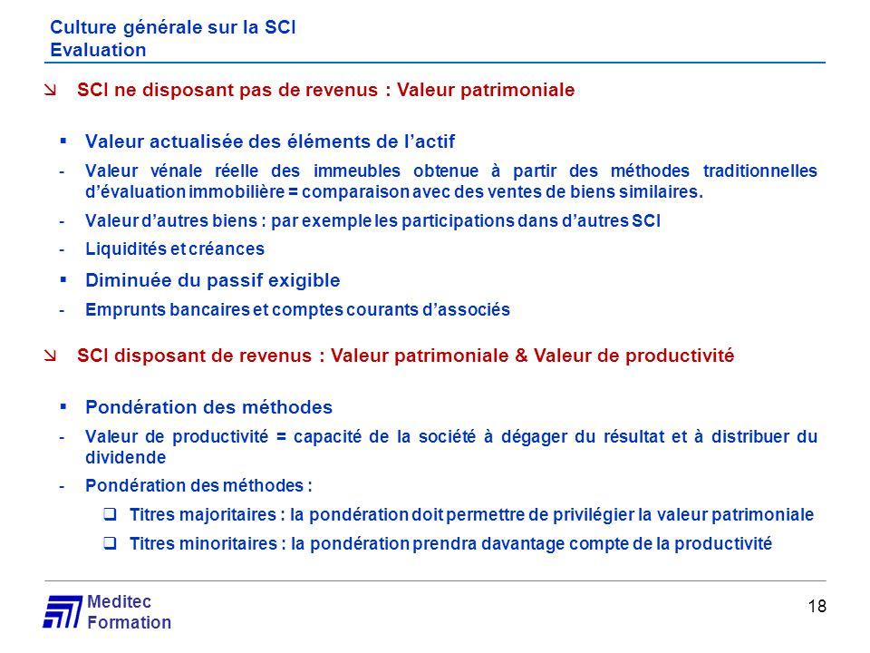 Culture générale sur la SCI Evaluation