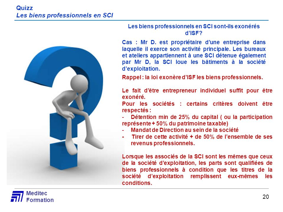 Quizz Les biens professionnels en SCI