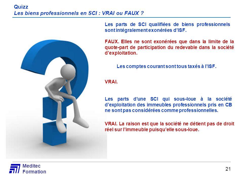 Quizz Les biens professionnels en SCI : VRAI ou FAUX