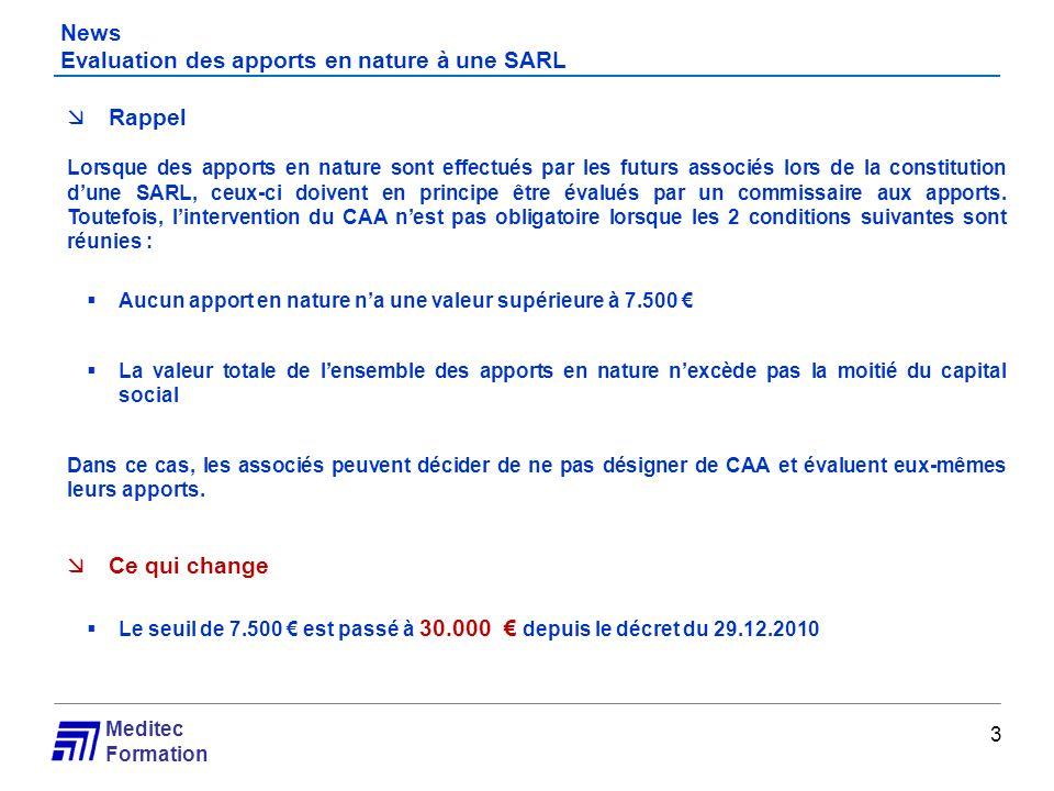 News Evaluation des apports en nature à une SARL