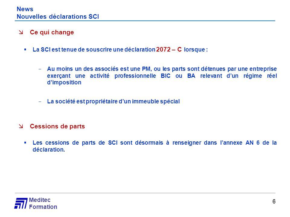 News Nouvelles déclarations SCI