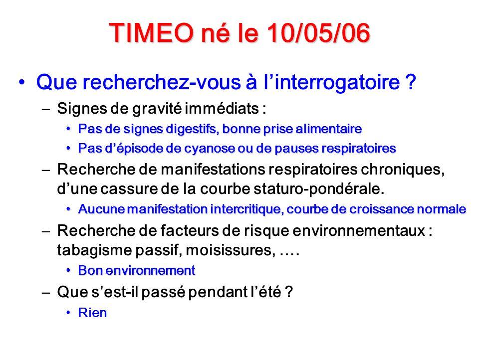 TIMEO né le 10/05/06 Que recherchez-vous à l'interrogatoire