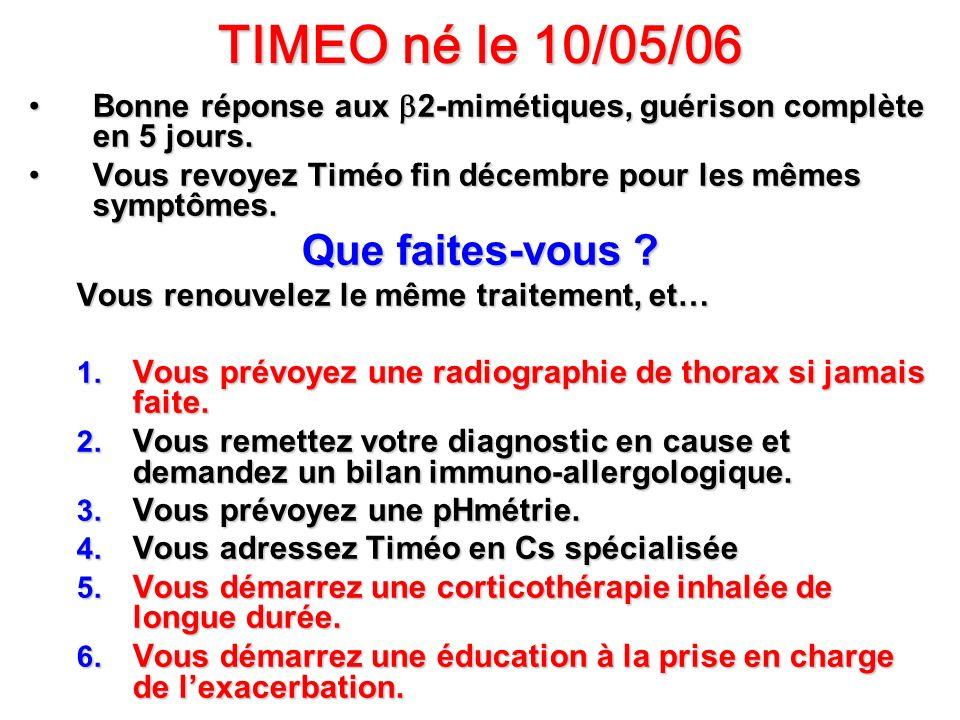 TIMEO né le 10/05/06 Que faites-vous