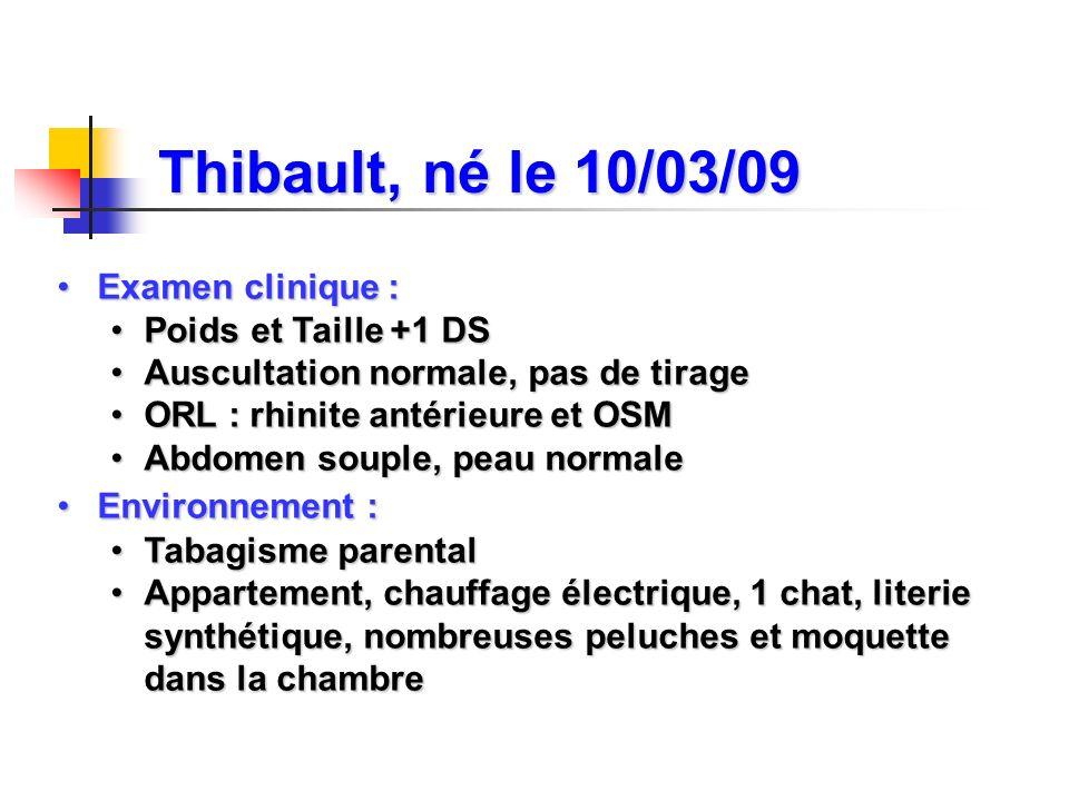 Thibault, né le 10/03/09 Examen clinique : Poids et Taille +1 DS