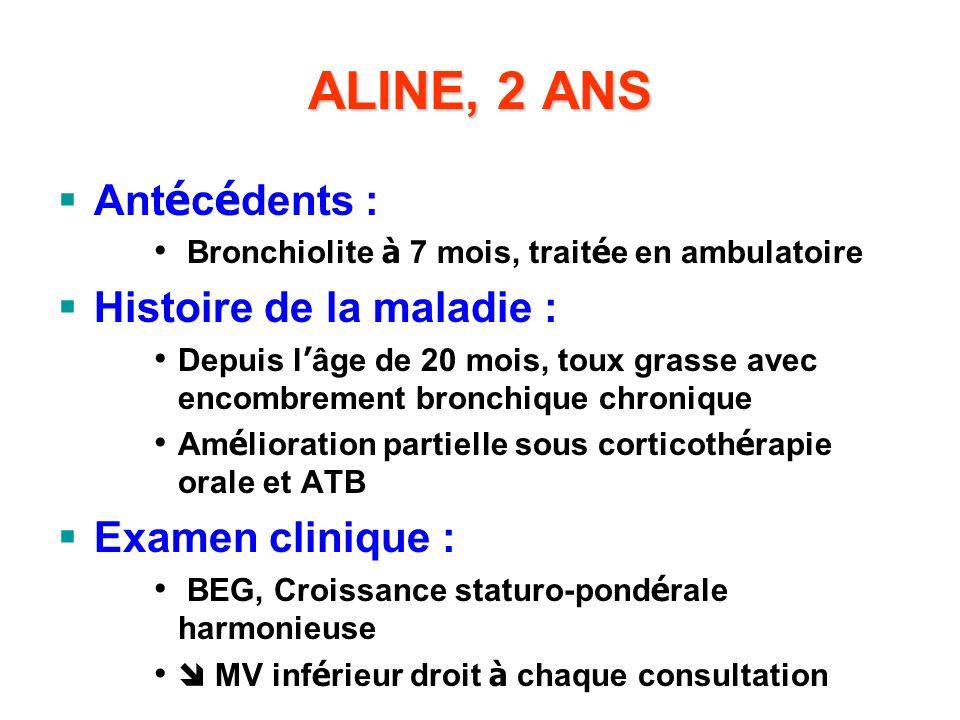 ALINE, 2 ANS Antécédents : Histoire de la maladie : Examen clinique :