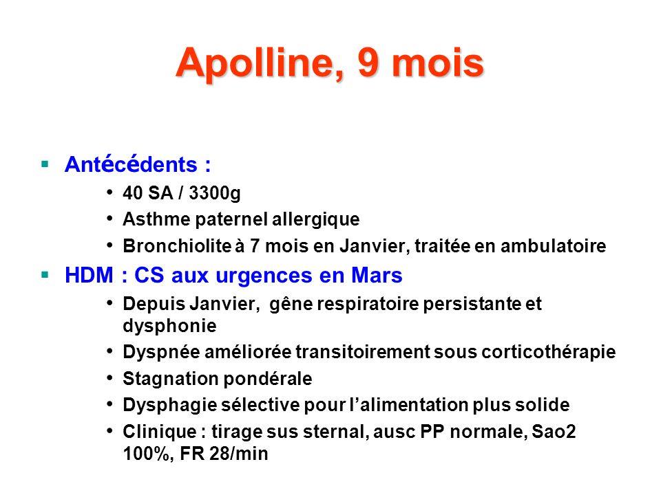 Apolline, 9 mois Antécédents : HDM : CS aux urgences en Mars