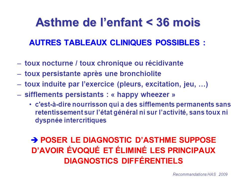 Asthme de l'enfant < 36 mois
