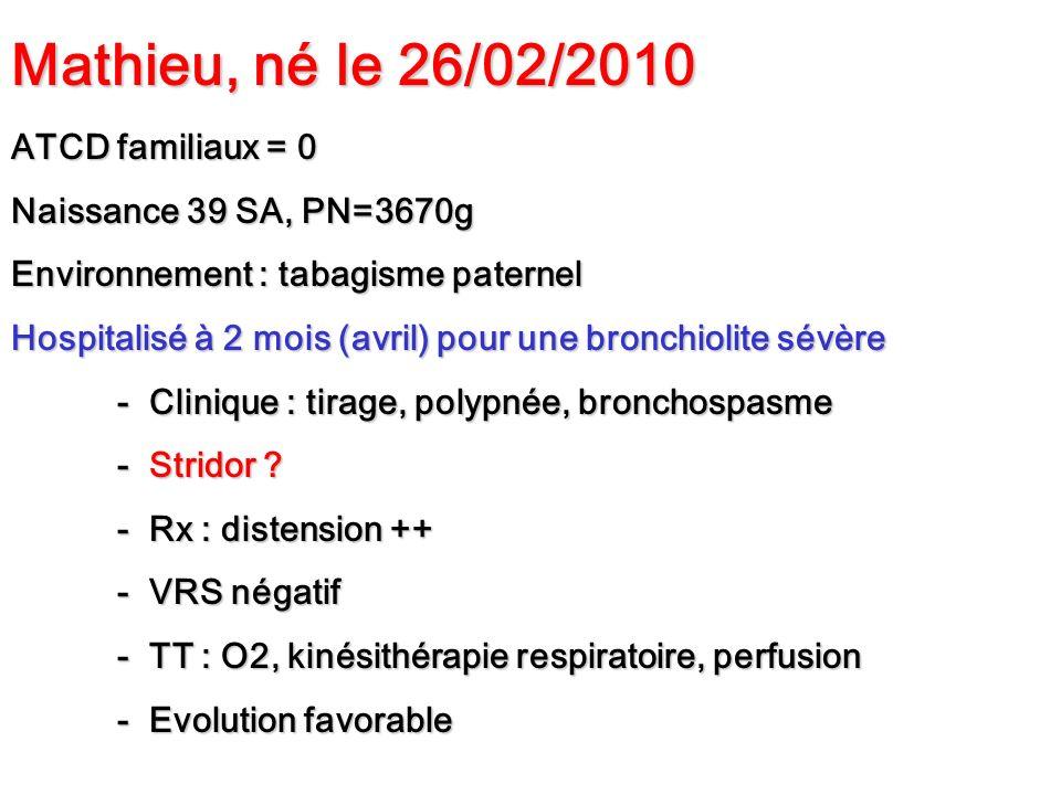 Mathieu, né le 26/02/2010 ATCD familiaux = 0 Naissance 39 SA, PN=3670g