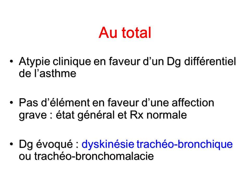 Au total Atypie clinique en faveur d'un Dg différentiel de l'asthme