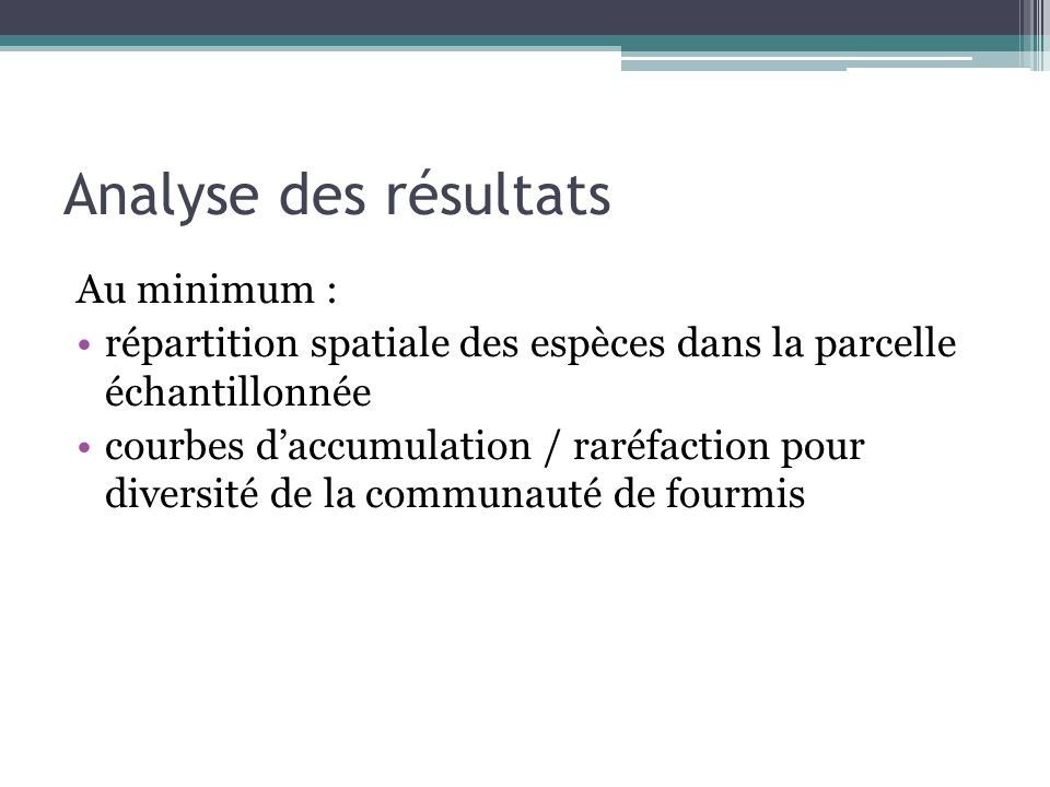 Analyse des résultats Au minimum :