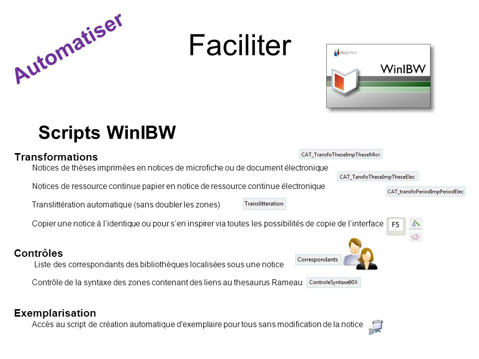 Faciliter Automatiser Scripts WinIBW Transformations Contrôles