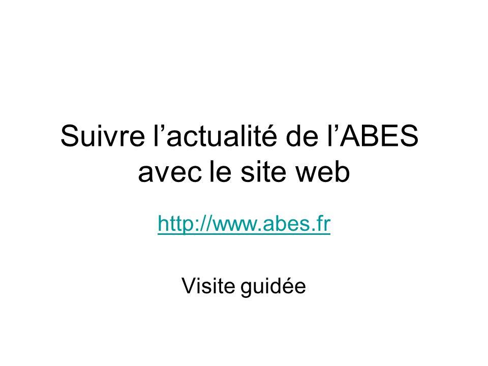 Suivre l'actualité de l'ABES avec le site web
