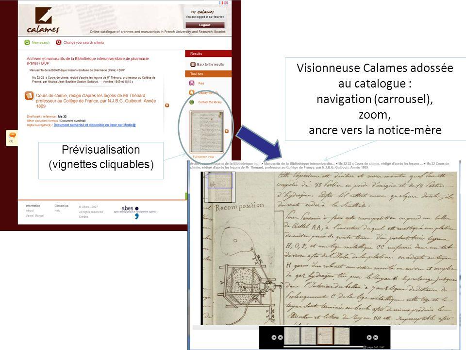 Visionneuse Calames adossée au catalogue : navigation (carrousel),
