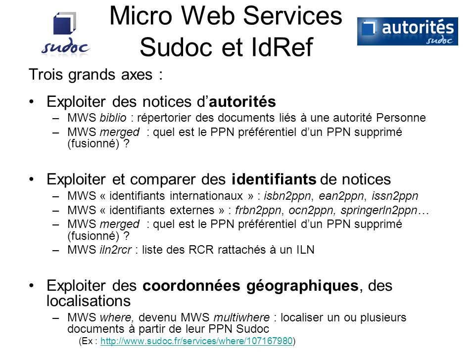 Micro Web Services Sudoc et IdRef