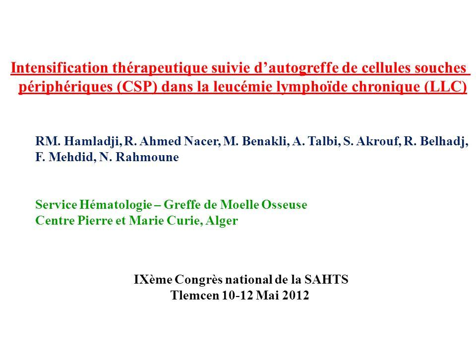 Intensification thérapeutique suivie d'autogreffe de cellules souches