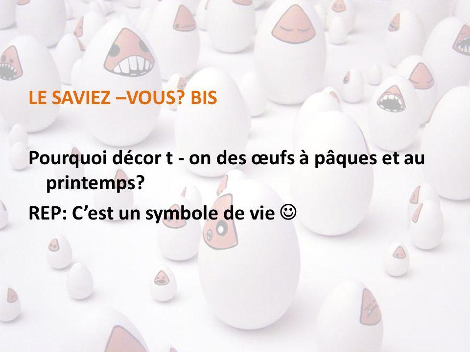 LE SAVIEZ –VOUS. BIS Pourquoi décor t - on des œufs à pâques et au printemps.