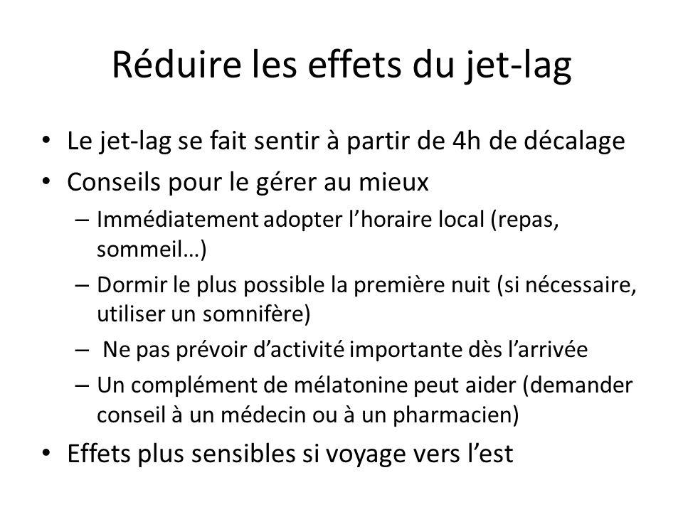 Réduire les effets du jet-lag