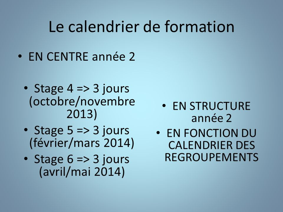 Le calendrier de formation