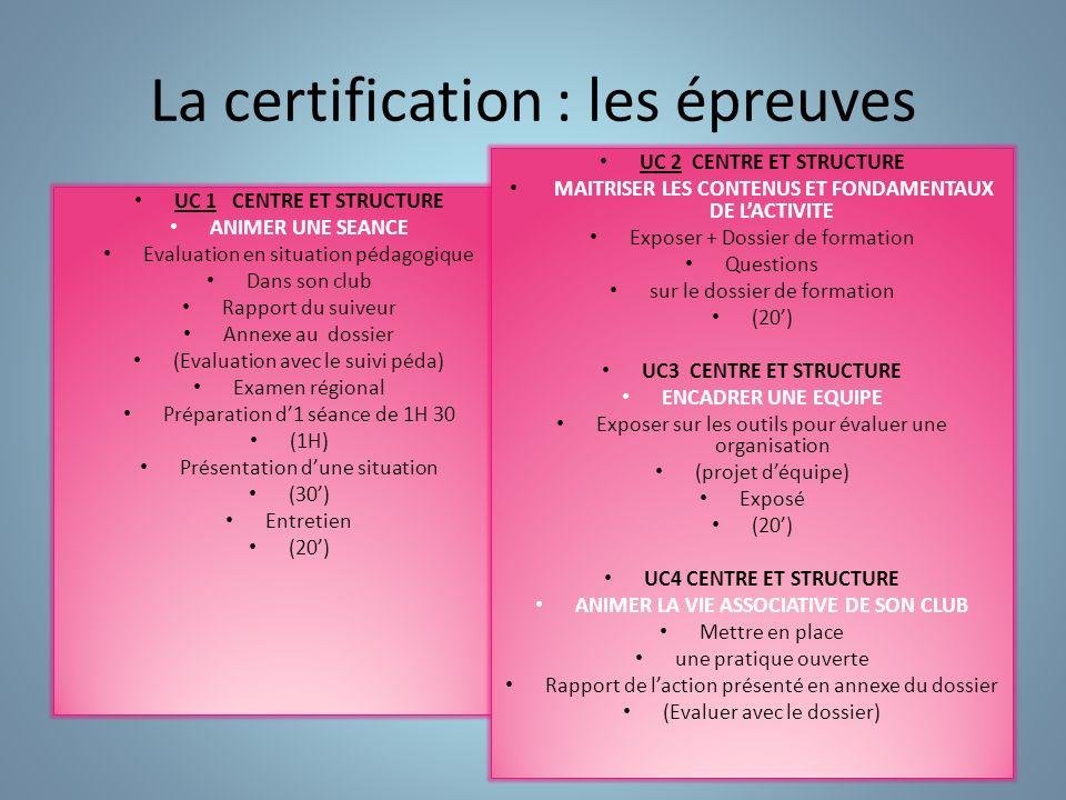 La certification : les épreuves