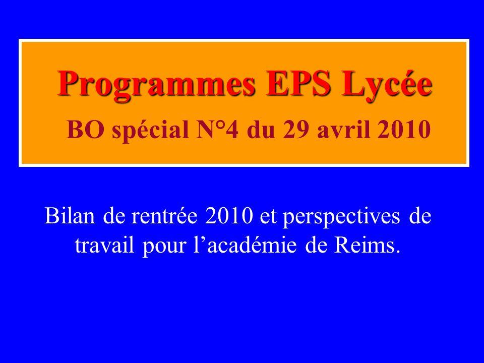 Programmes EPS Lycée BO spécial N°4 du 29 avril 2010