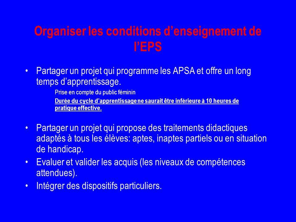 Organiser les conditions d'enseignement de l'EPS