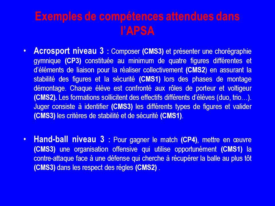 Exemples de compétences attendues dans l'APSA