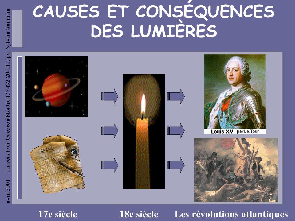 CAUSES ET CONSÉQUENCES DES LUMIÈRES Les révolutions atlantiques