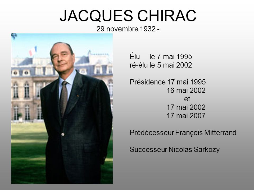 JACQUES CHIRAC 29 novembre 1932 -