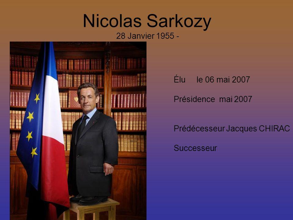 Nicolas Sarkozy 28 Janvier 1955 - Élu le 06 mai 2007