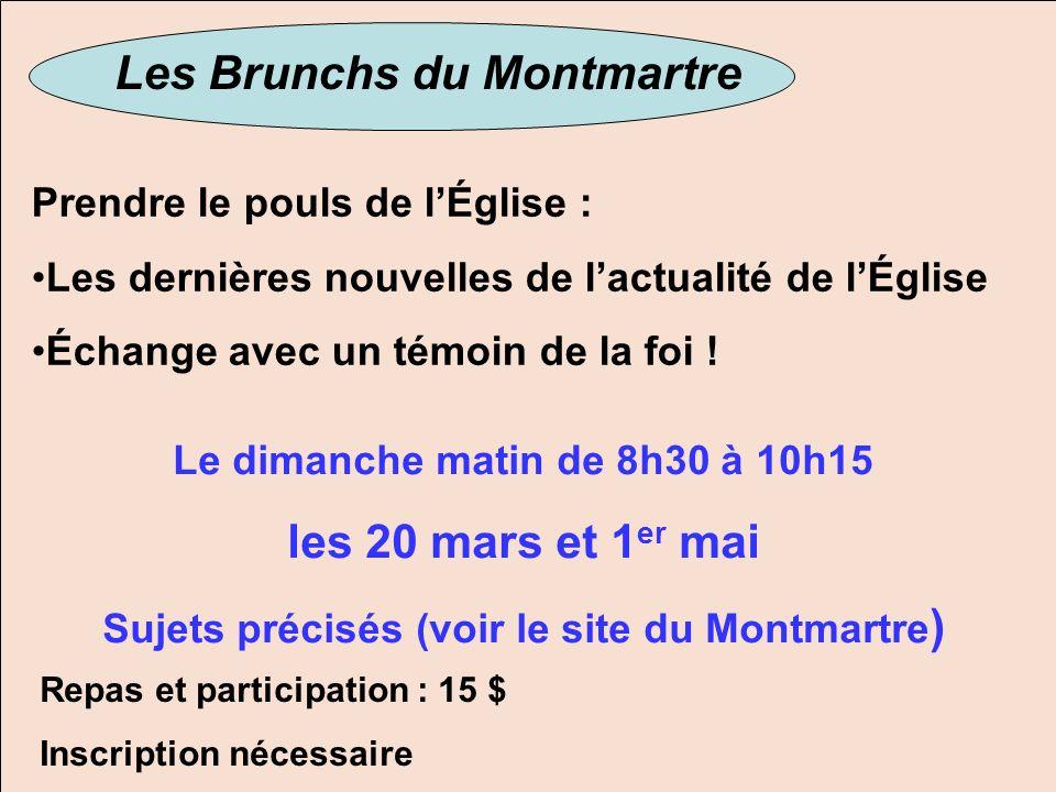 Les Brunchs du Montmartre les 20 mars et 1er mai