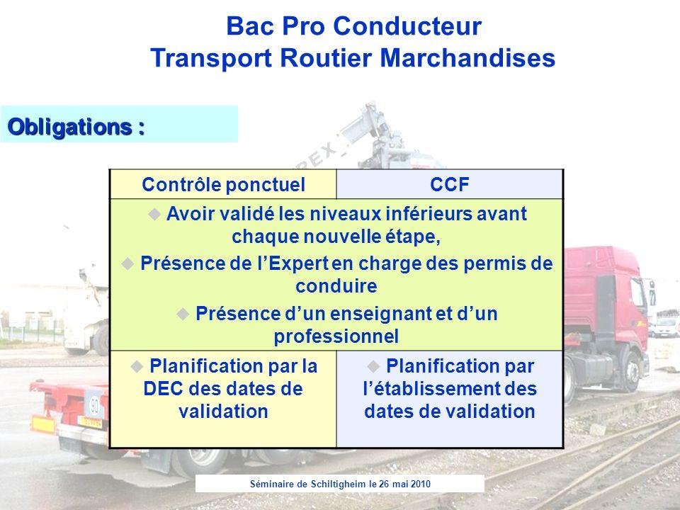 Obligations : Contrôle ponctuel CCF