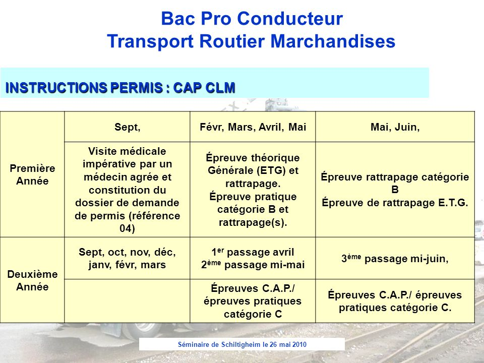 INSTRUCTIONS PERMIS : CAP CLM