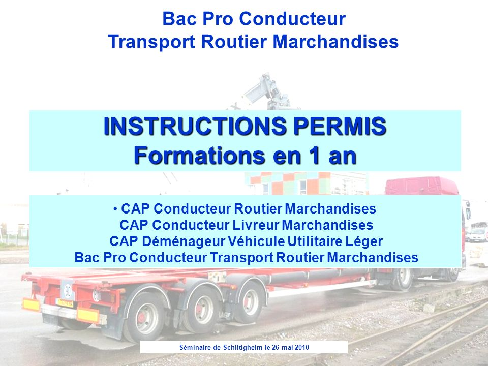 INSTRUCTIONS PERMIS Formations en 1 an