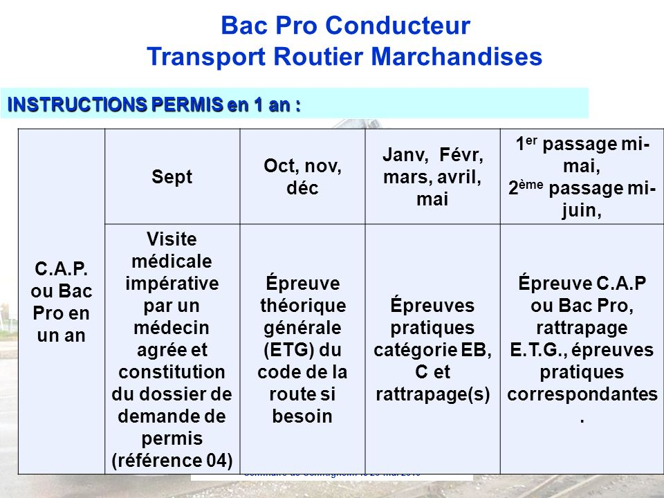 INSTRUCTIONS PERMIS en 1 an : C.A.P. ou Bac Pro en un an Sept