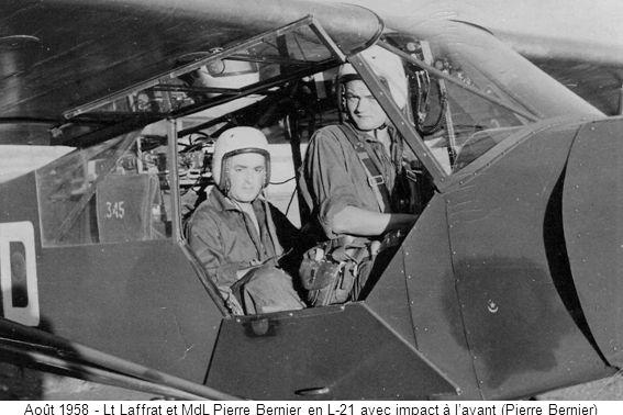 Août 1958 - Lt Laffrat et MdL Pierre Bernier en L-21 avec impact à l'avant (Pierre Bernier)
