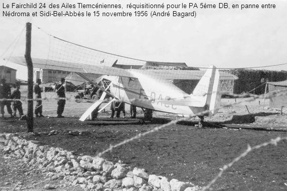 Le Fairchild 24 des Ailes Tlemcéniennes, réquisitionné pour le PA 5ème DB, en panne entre Nédroma et Sidi-Bel-Abbès le 15 novembre 1956 (André Bagard)